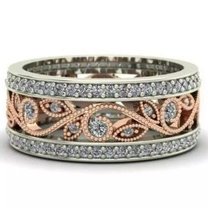 Jewelry - Two tone Silver Rose Gold & Sapphire band
